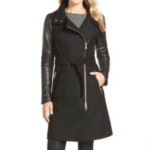 Mackage Dale Coat Wool Trench with Leather Sleeves